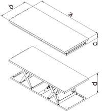 Dimensions de tables élévatrices tandem